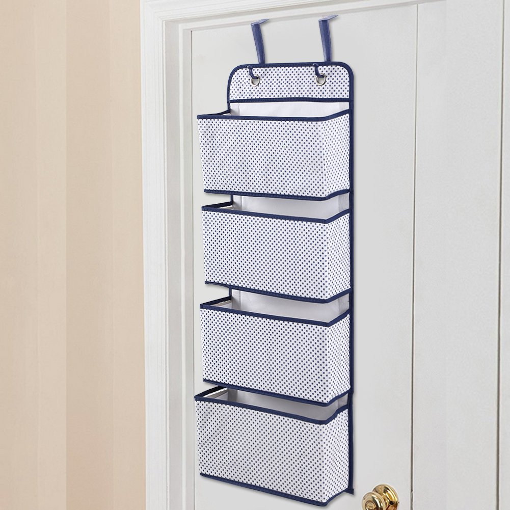 Estink Wall Door Hanging Storage Bag,Sturdy Durable Door Hanging Hook Organiser Wardrobe Shoes Storage Pockets Bag for Toys,Clutch Purses, Bottles,Towels, Scarves, Sunglasses,etc-4 Pockets Blue