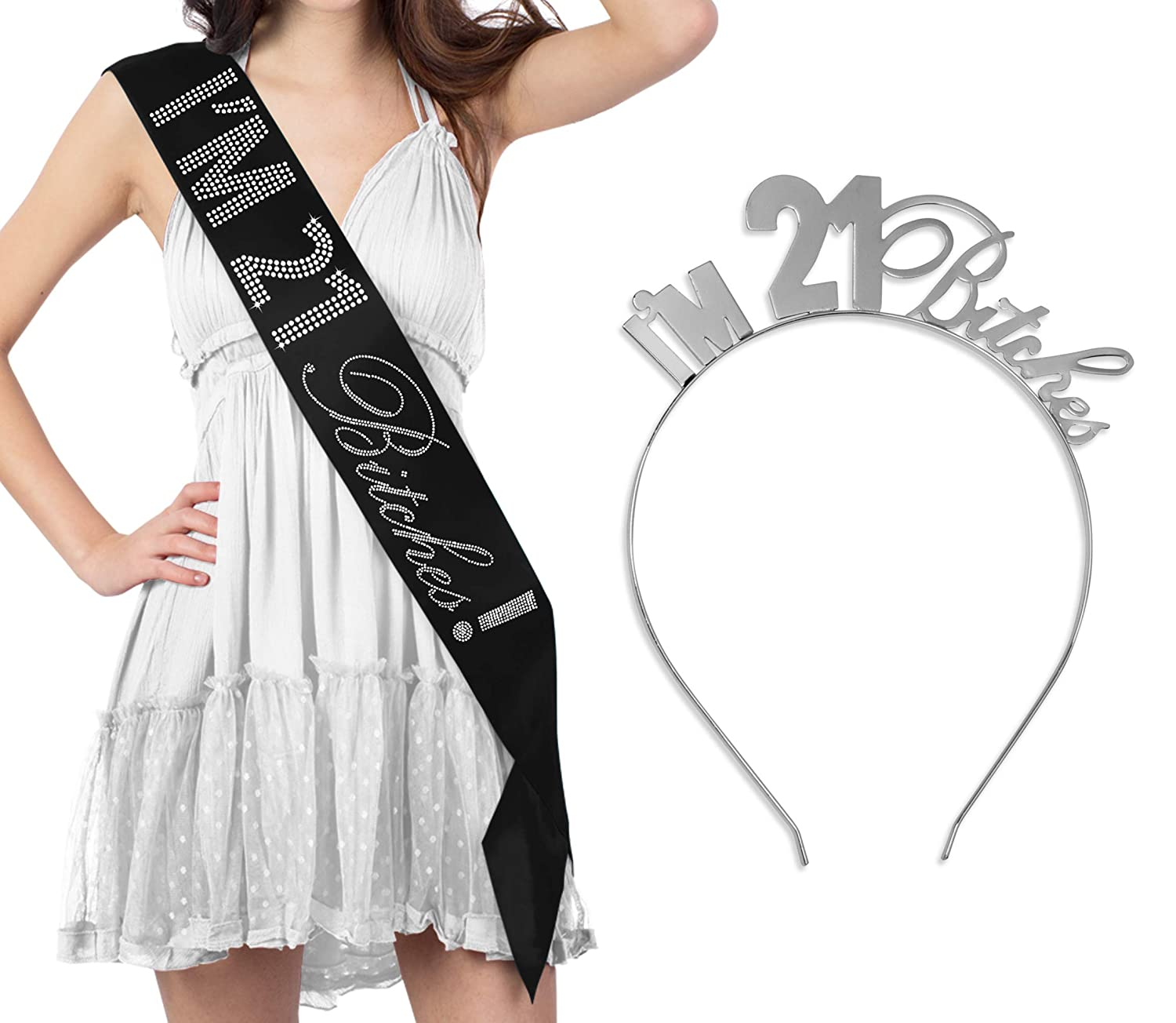 21st Birthday Sash & Tiara Headband Gift Set - I'm 21