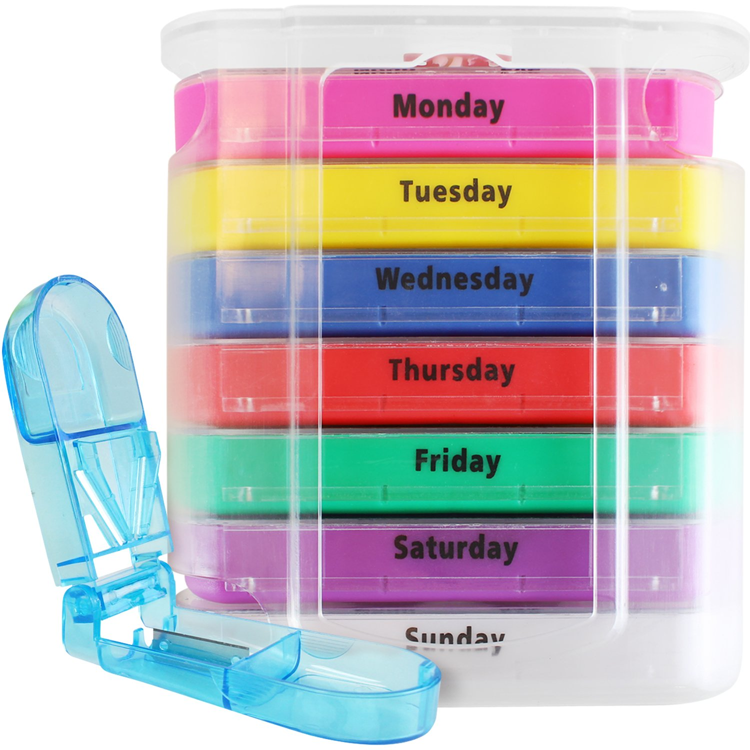 Vive 4 Times a Day Pill Organizer - Weekly Medicine Holder - AM PM Dispenser Case with Splitter Cutter - Portable Daily Vitamin Container - Slim 7 Day Travel Calendar