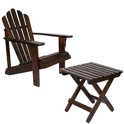 Shine Company Inc. Adirondack Square Folding Table With Westport Adirondack  Chair   Burnt Brown