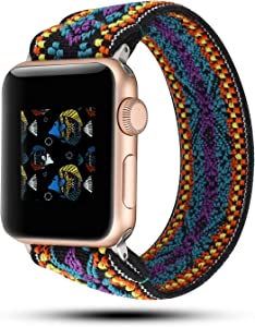 YOSWAN Stretchy Loop Strap Compatible for Apple Watch Band 40mm 38mm 44mm 42mm iWatch Series 6/5/4/3/2/1 Stretch Elastics Wristbelt (Aztec Style Purple Blue, 42mm/44mm)