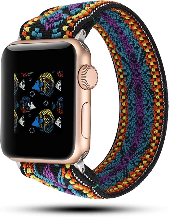 YOSWAN Stretchy Loop Strap Compatible for Apple Watch Band 40mm 38mm 44mm 42mm iWatch Series 6/5/4/3/2/1 Stretch Elastics Wristbelt (Aztec Style Purple Blue, 38mm/40mm)