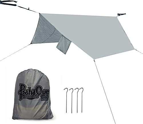 PahaQue Hammock Rainfly Lean-to Shelter Lightweight Tarp Oversized 12 x 8.5 , Perfect for Camping, Backpacking, Gear Protection, Hammock Protection. Waterproof, Taped Seams