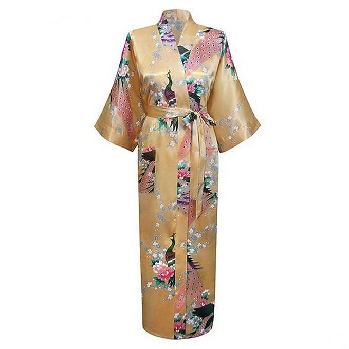Anieca New White Silk Robes Women Long Nightgown Printed Kimono Gown Flower at Amazon Womens Clothing store: