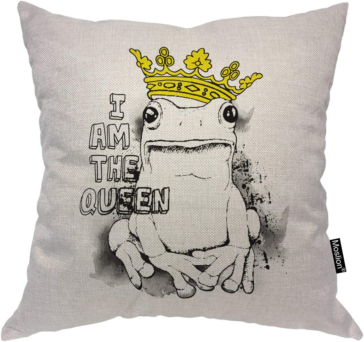 JeremyArtStore 18 x 18 Inches Decorative Cotton Linen Square Throw Pillow Case Cushion Cover Frog Design