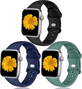 Easuny Sport Band Compatible with Apple Watch 44mm 42mm Women Men - Soft Sport Silicone Wristbands Strap Replacement Accessories for iWatch Series 6/5/4/3/2/1,3 Pack of Black/Dark Blue/Pine Green,S/M