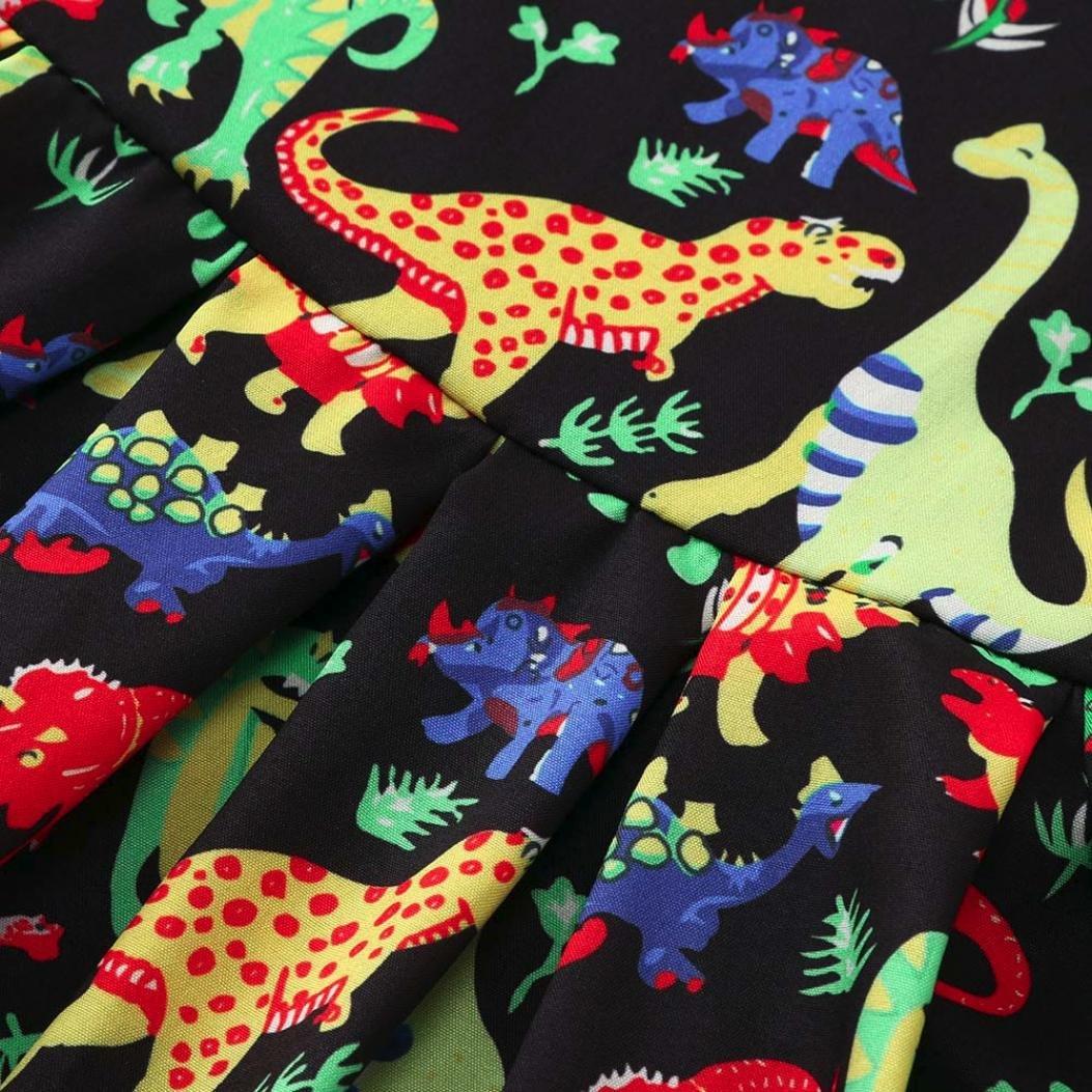 Voberry/® Enfants B/éb/é Fille Robe sans manches de dinosaure de bande dessin/ée bandeau Outfit Filles Tenues V/êtements Pour 1-4 Ans