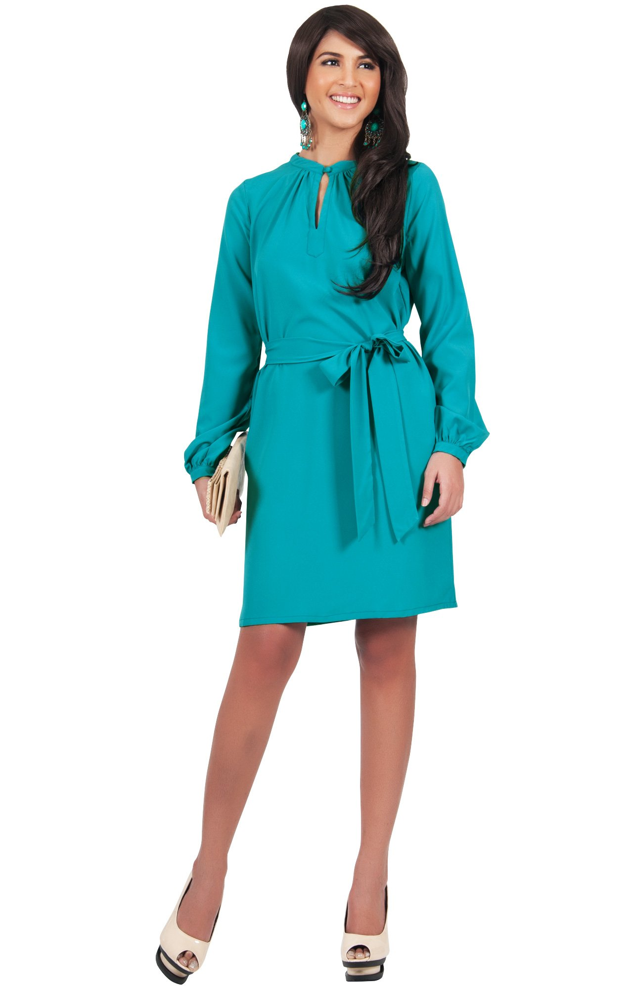 KOH KOH Plus Size Womens Long Sleeve with Sleeves Formal Work Office Casual Versatile Evening Day Fall Travel Party Wedding Guest Short Knee Length Midi Dress Dresses, Blue Teal 2X 18-20 (3)