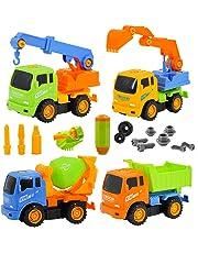 deAO Camiones de Construcción para Montar y Desmontar Conjunto de 4 Camiones - Vehículos de Montaje
