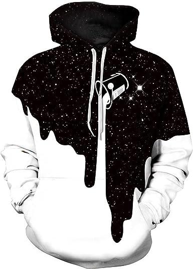 Imagen deMemoryee Moda Blanco y Negro 3D Impreso Sudaderas con Capucha Sudadera Pullover para Pareja de Jóvenes Mujeres y Hombres