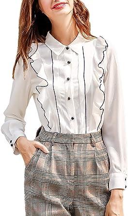 Camisa Mujer Manga Larga Solapa De Solo Un Pecho con Volantes Oficina Camicia Modernas Casual Bluse Otoño Invierno Casuales Espesar Blusas Camisas Señoras: Amazon.es: Ropa y accesorios
