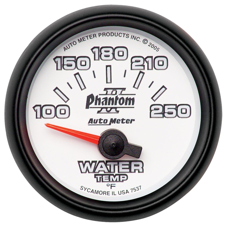 Auto Meter 7537 Phantom II 2-1/16'' 100-250 F Short Sweep Electric Water Temperature Gauge by AUTO METER