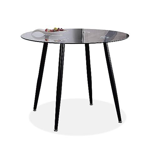 Adec - Suecia, Mesa de Comedor Redonda, Mesa de salón acabada en Cristal y Patas Negras, Medidas: 100 (Diámetro) x 75 cm (Alto).