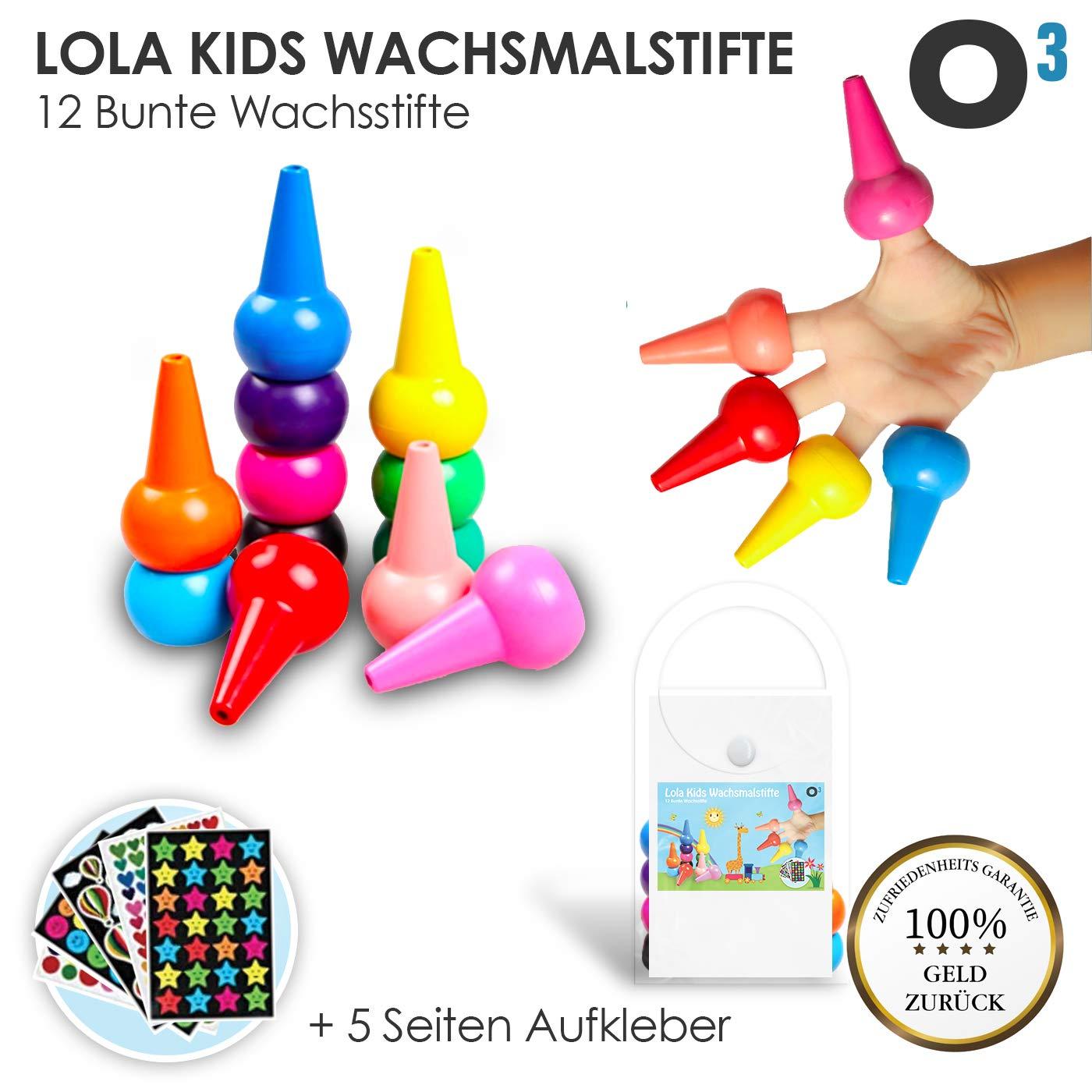 O³ Lola Kids Wachsmalstifte Kleinkinder ab 1 Jahr ungiftig // 12 bunte Wachsstifte // Ungiftig und CE-zertifiziert // Griffig für kleine Kinderhände // 5 Seiten Aufkleber gratis O³