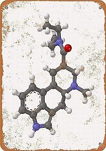 LoMall 8 x 12 Metal Sign - LSD Molecule - Vintage Wall Decor Art