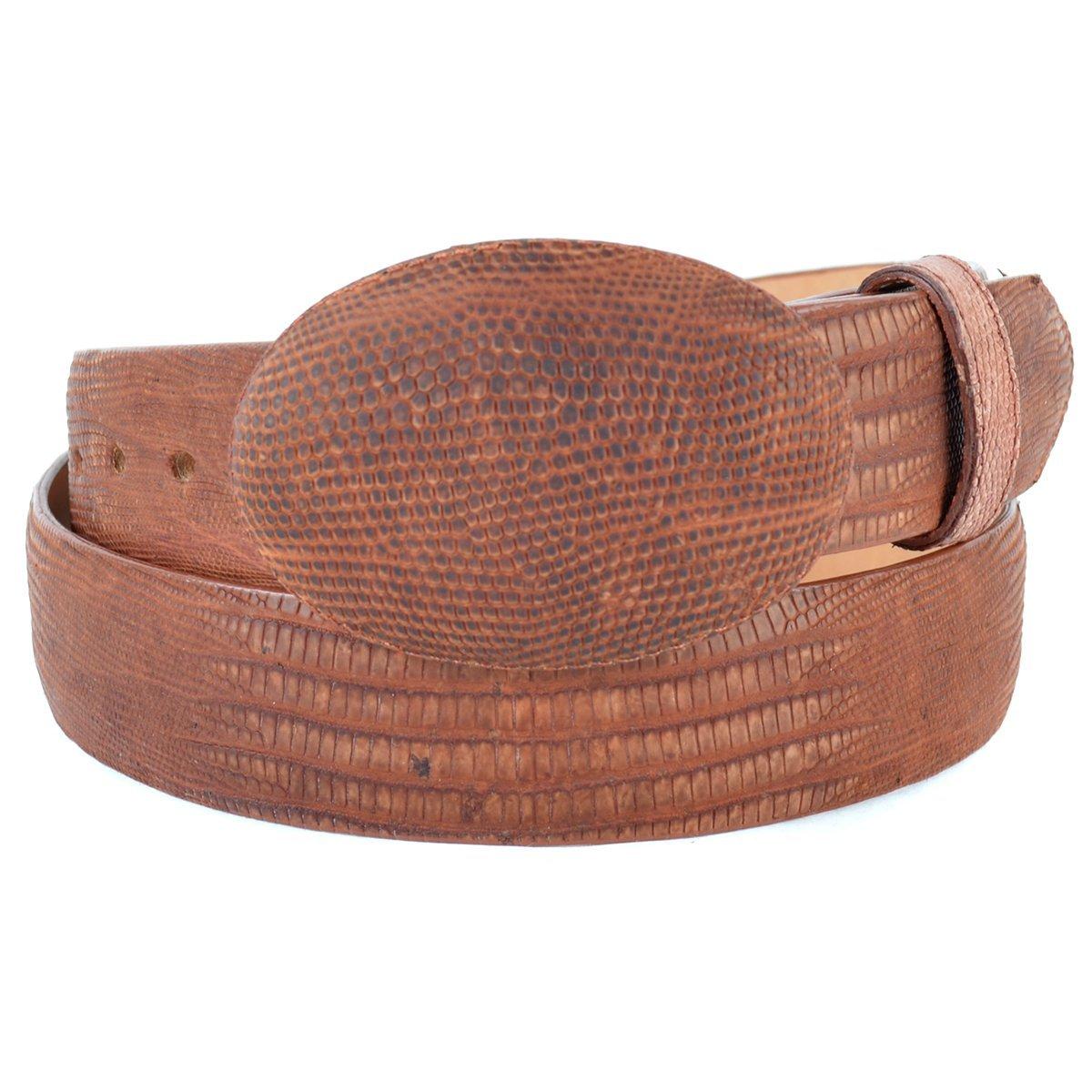 Original Cognac Greasy Finish Lizard Teju Skin Western Style Belt