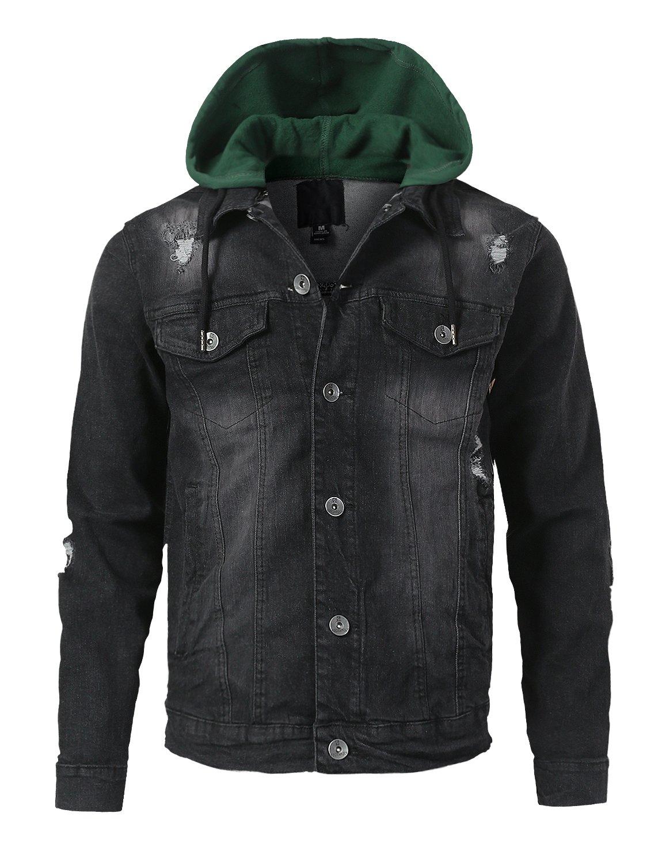 URBANCREWS Mens Hipster Hip Hop Button Down Hood Stretch Denim Jacket Black, L by URBANCREWS