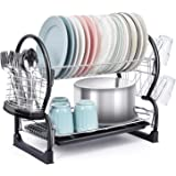 TOOLF 2-Tier Dish Rack,Easy Assemble Large Capacity Dish Drying Rack with Side Mounted Utensil Holder and Cup Holder, Organiz