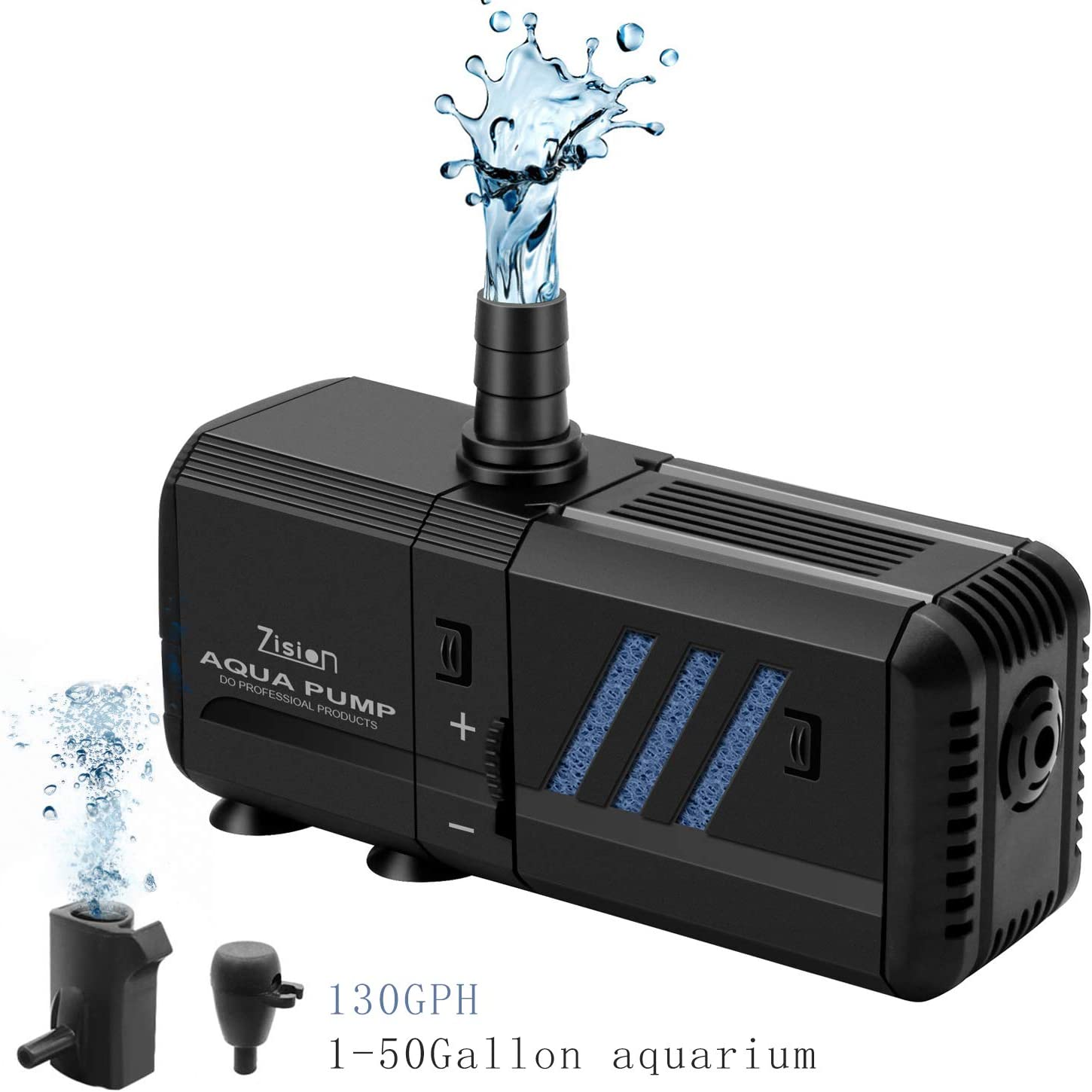 Fish Tank Filter, Water Pump (6W-500L/H) Super Quiet, Home/Office Aquarium Air Bubble Water Circulation System, Oxygen Charging, WaveMaker, Filtering