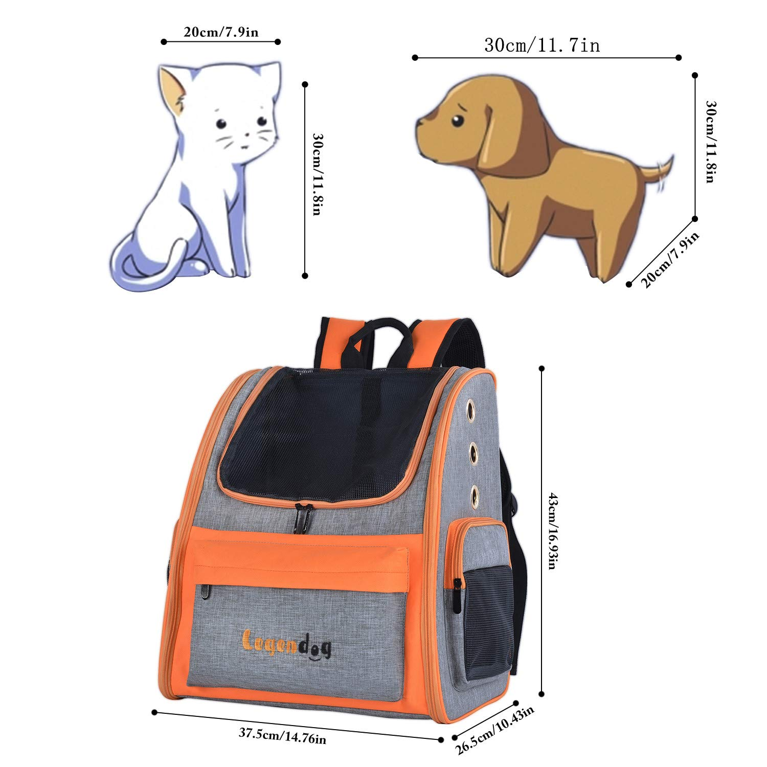 Legendog Dog Backpack, Pet Backpack Carrier Portable Travel Bag Breathable Pet Backpack for Dogs& Cats, Waterproof Cat Hiking Backpack with Cushion & Adjustable Strap (Pet Backpack)