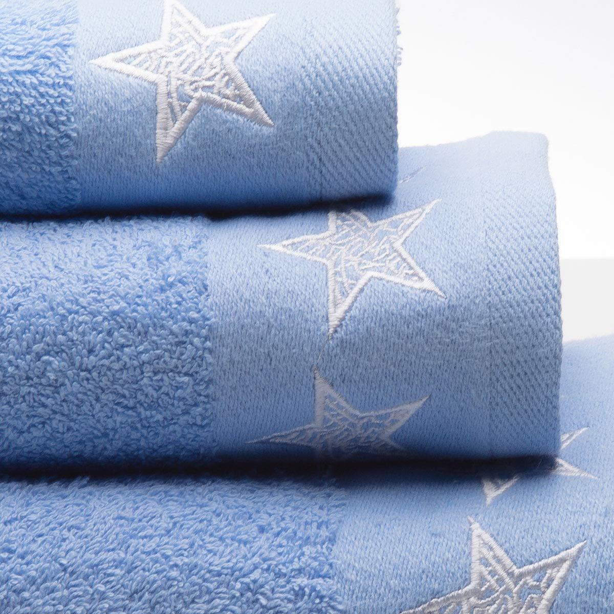 Azul Claro 3//Piezas Sancarlos Stars Juego Toallas 100/% Algod/ón