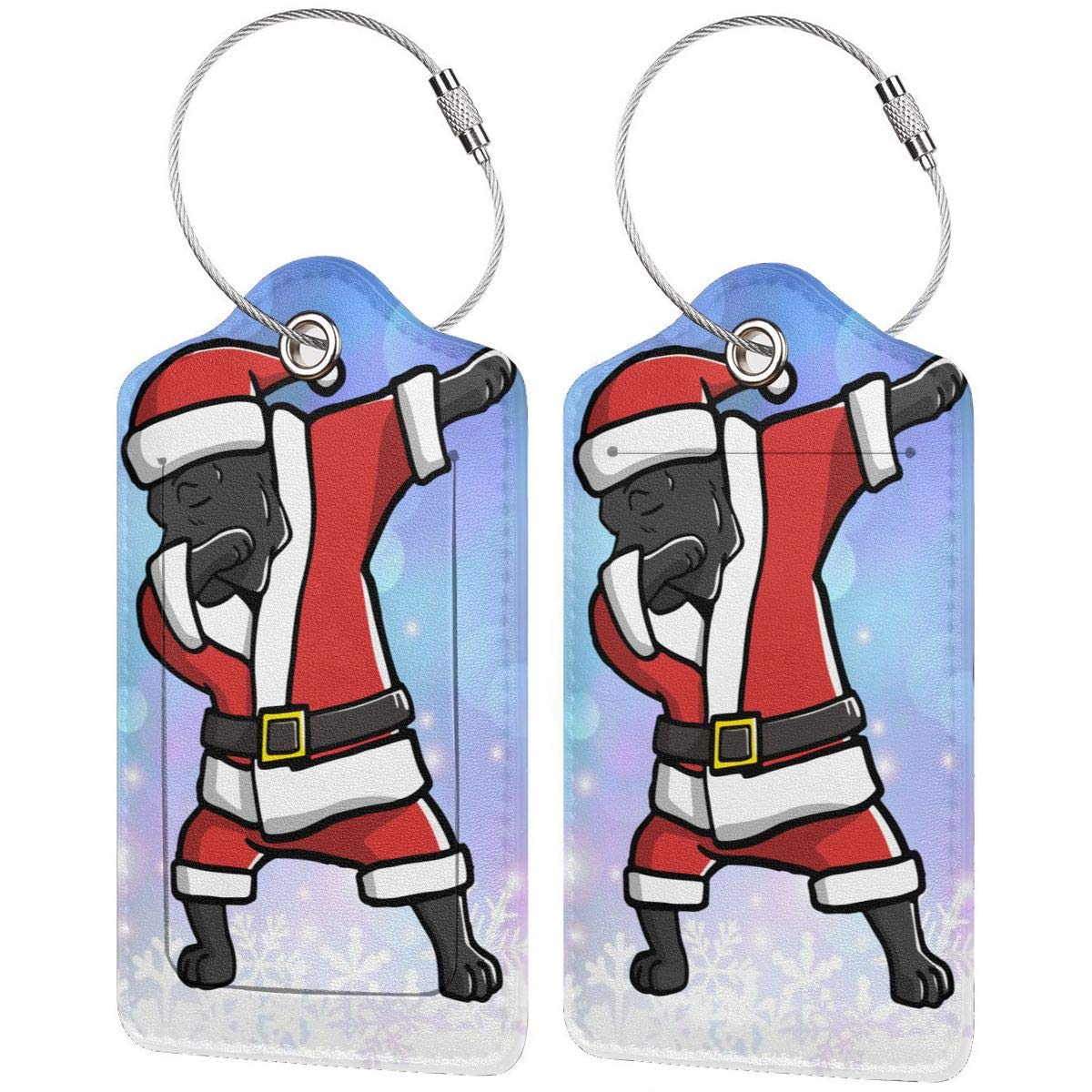 Dabbing Cane Corso Ugly Christmas Travel Luggage Tags With Full Privacy Cover Leather Case And Stainless Steel Loop