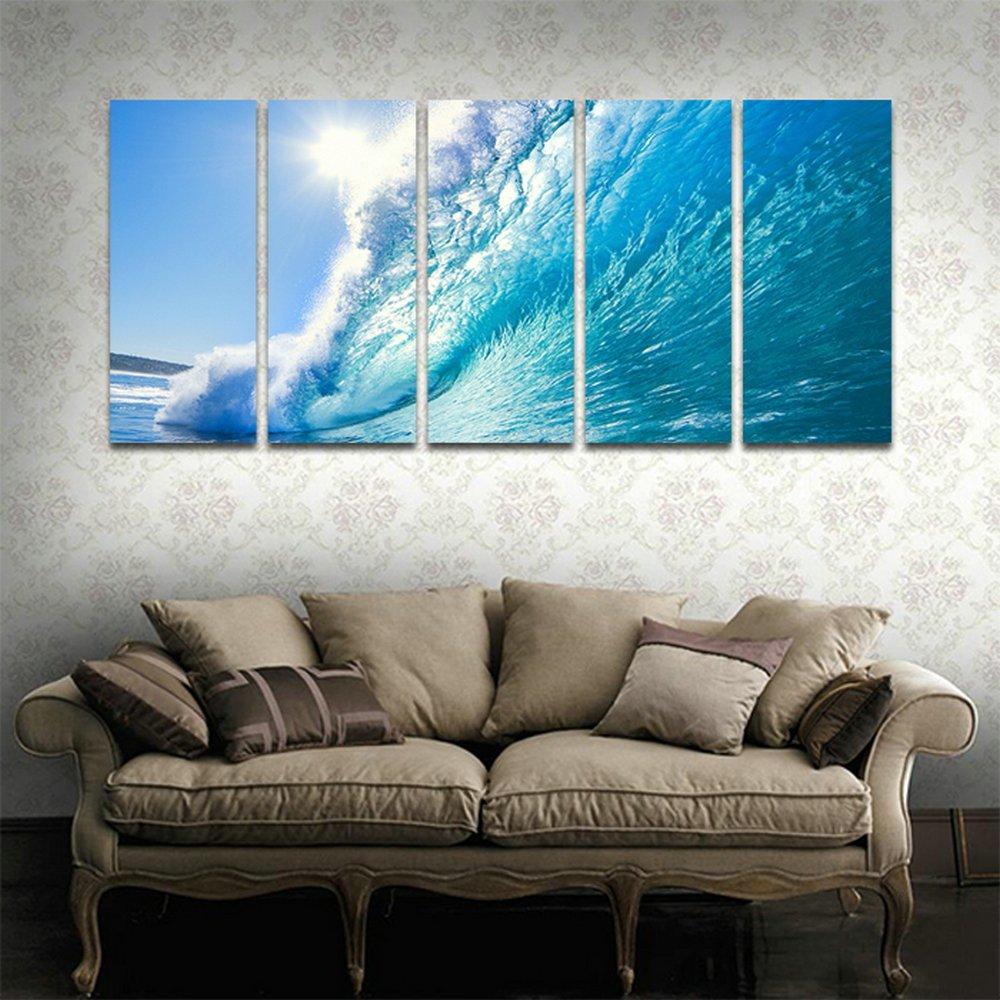 CyiohArt 5パネル アートパネル 「太陽の下で青い波」 壁掛け 風景写真の壁の写真を絵画 キャンバス絵画 ホームデコレーション用 (69インチx32インチ、木枠付きの完成品) B077M53ZWT木枠付きの完成品 35cmx80cmx5
