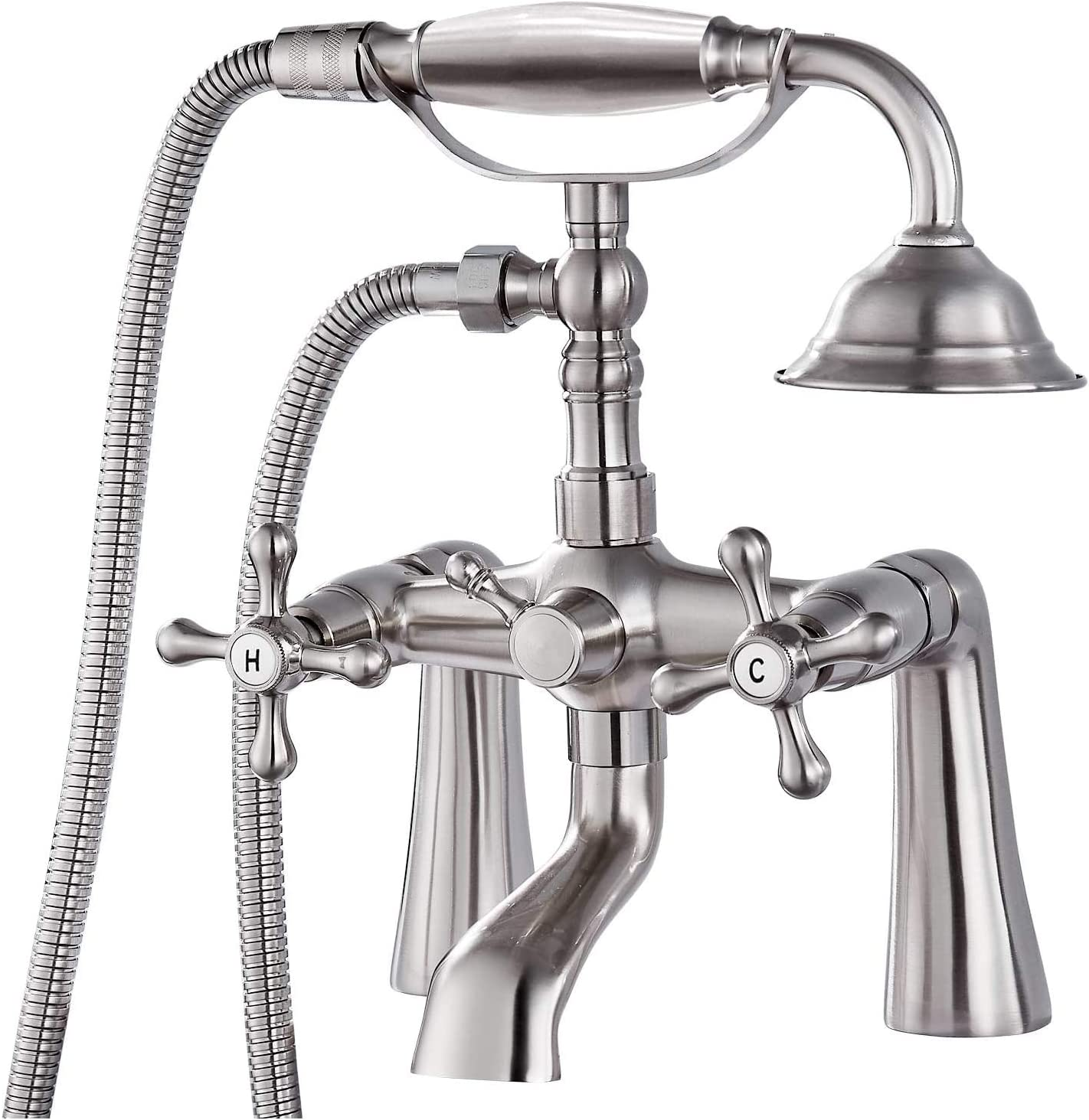 Deck Mount Tub Bathtub Clawfoot Faucet with Handheld Shower Brushed Nickel Telephone Shaped Sprayer Showerheld Double Cross Handle