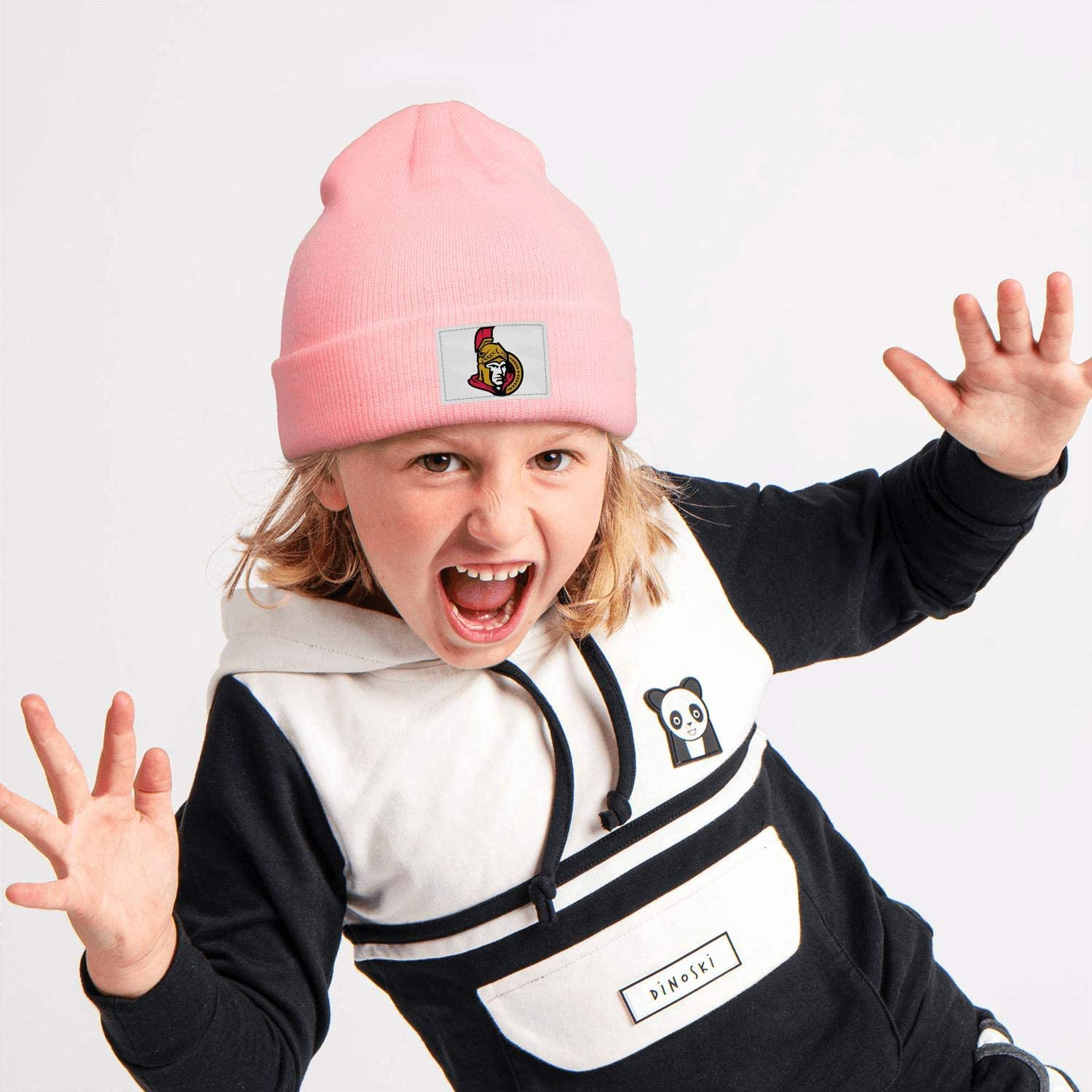 Style Pink Beanie Hat for Boys Girls Kids Winter Knit Cap Leisure Stretchy Pittsburgh-Penguins-Jack-McGregor