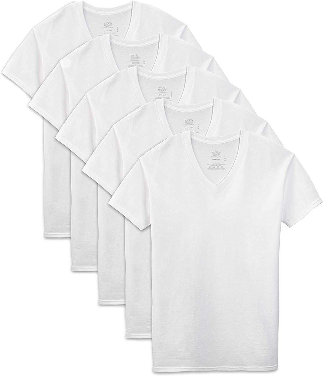 Fruit of the Loom Men's  Extended Sizes V-Neck T-Shirt, White, XXX-Large(Pack of 5)