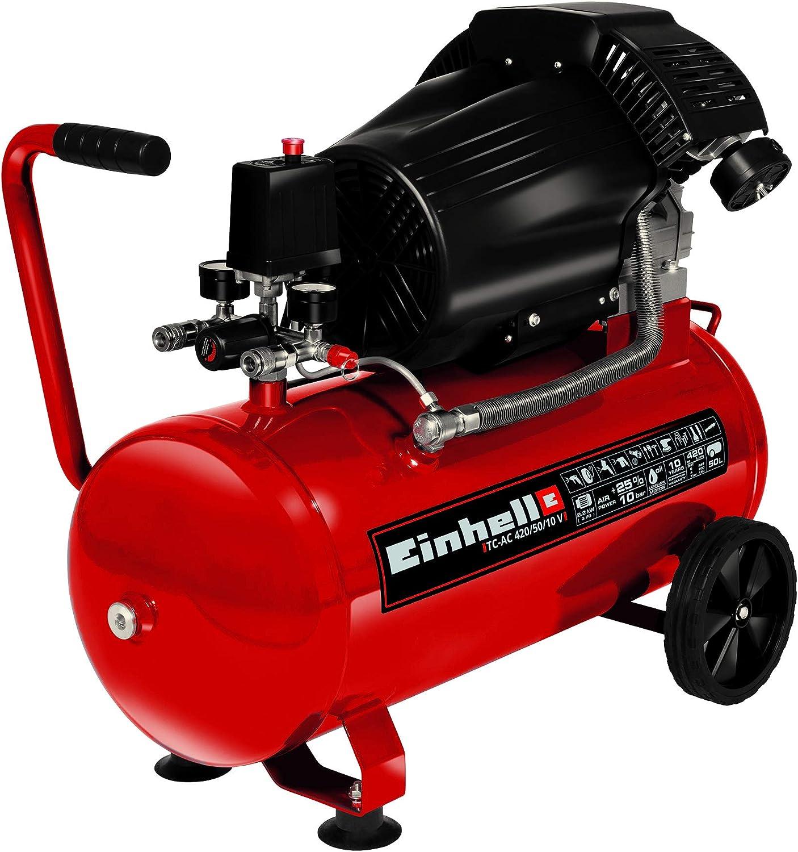 Einhell Compresor TC-AC 420//50//10 V 2200 W, 2850 rpm, 10 bar m/áx., tanque de 50 l, reductor de presi/ón, man/ómetro, v/álvula de retenci/ón, v/álvula de seguridad
