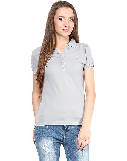 fee75e11eb3b9 AMERICAN CREW Women s Polo Collar Solid Grey T-Shirt - XL (ACW712-XL ...
