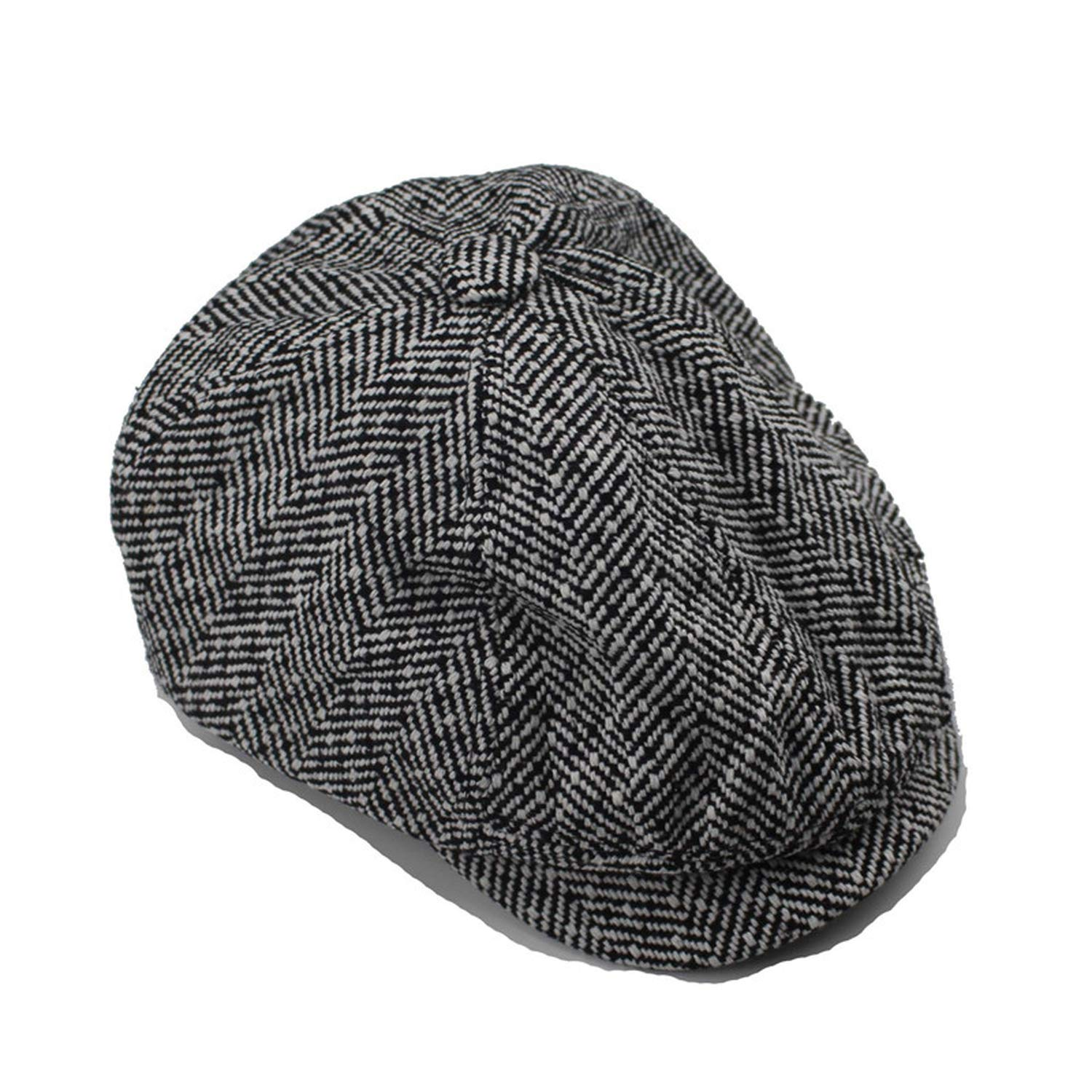 Mens Classic Herringbone Tweed Wool Blend Newsboy Ivy Hat Men and Women Hats Gorras Planas Octagonal Cap