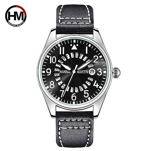 Correa de Cuero de Moda Relojes de Pulsera Hannah Martin HM-KY11-XD Reloj de Pulsera de Cuarzo para Hombre Reloj de Moda de Negocios HAHA: Amazon.es: ...