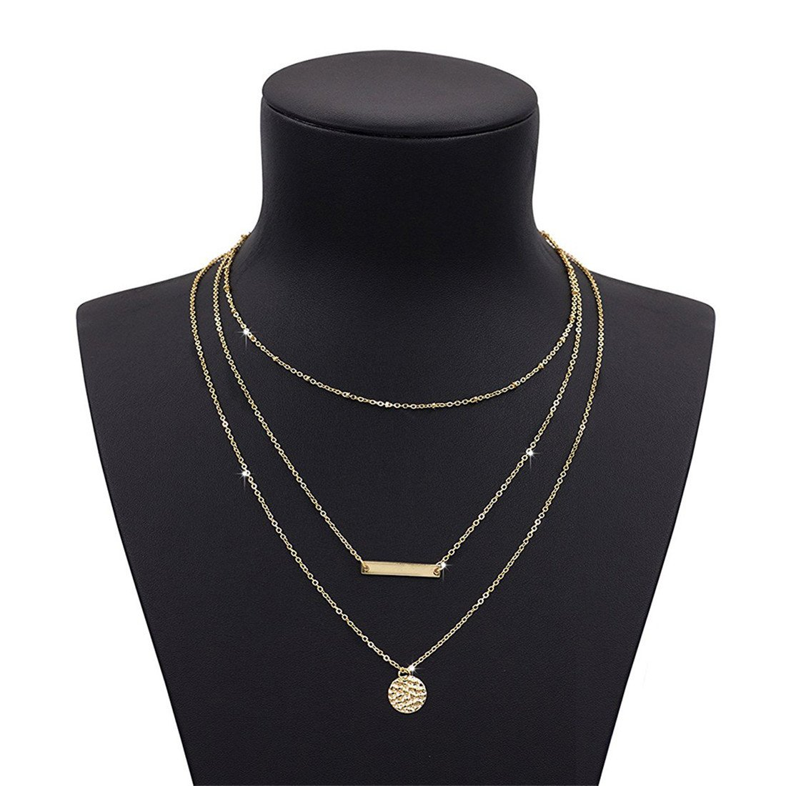 VWH Pendant Necklace Charming Sequin Thin Chain for Women (gold)