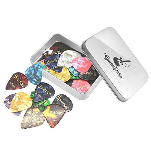 20pcs Guitar Picks, HusDow Guitar Plectrums Celluloid  Pick  for Electric, Acoustic,or Bass Guitar including 0.46mm 0.71mm 0.81mm 0.96mm 1.2mm
