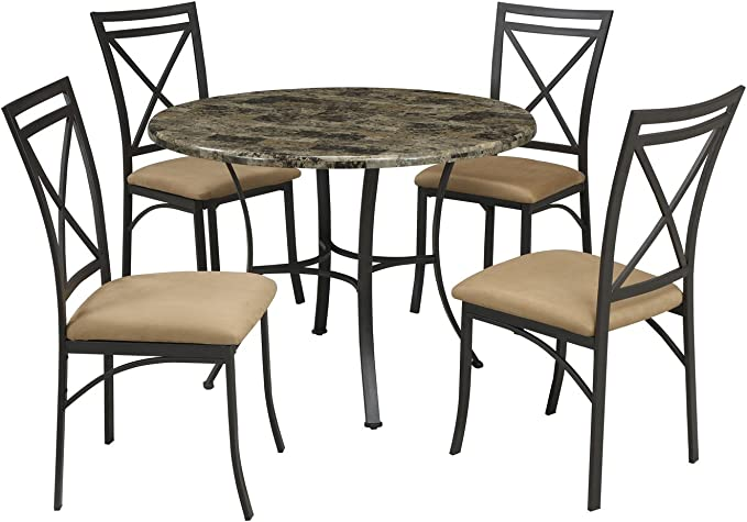 Dorel Living Faux Marble Top Dining Table Set Table Chair Sets