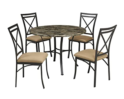 Image Unavailable. Image not available for. Color Dorel Living Faux Marble Top Dining Table Set  sc 1 st  Amazon.com & Amazon.com - Dorel Living Faux Marble Top Dining Table Set - Table ...