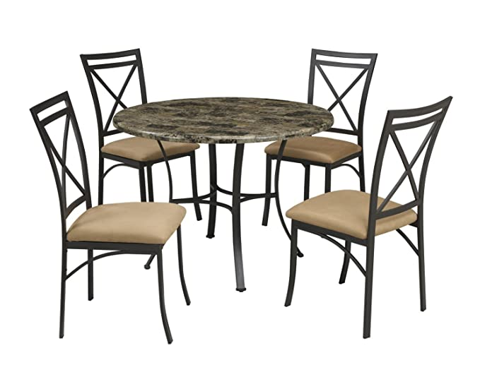 Amazoncom Dorel Living Faux Marble Top Dining Table Set Table