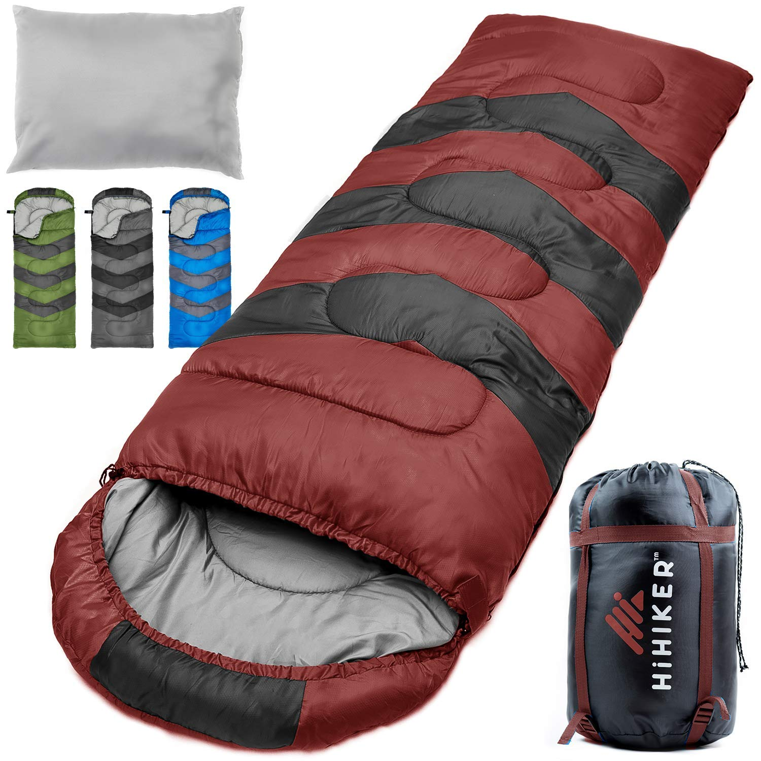 HiHiker Camping Sleeping Bag + Travel Pillow w/Compact Compression Sack - 4 Season Sleeping Bag for Adults & Kids - Lightweight Warm and Washable, for Hiking Traveling & Outdoor Activities (Red) by HiHiker