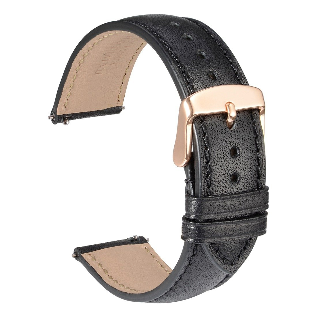 WOCCI 18mm Full Grain Leather Watch Band with Rose Gold Buckle, Quick Release Strap(Black with Tone on Tone Seam)