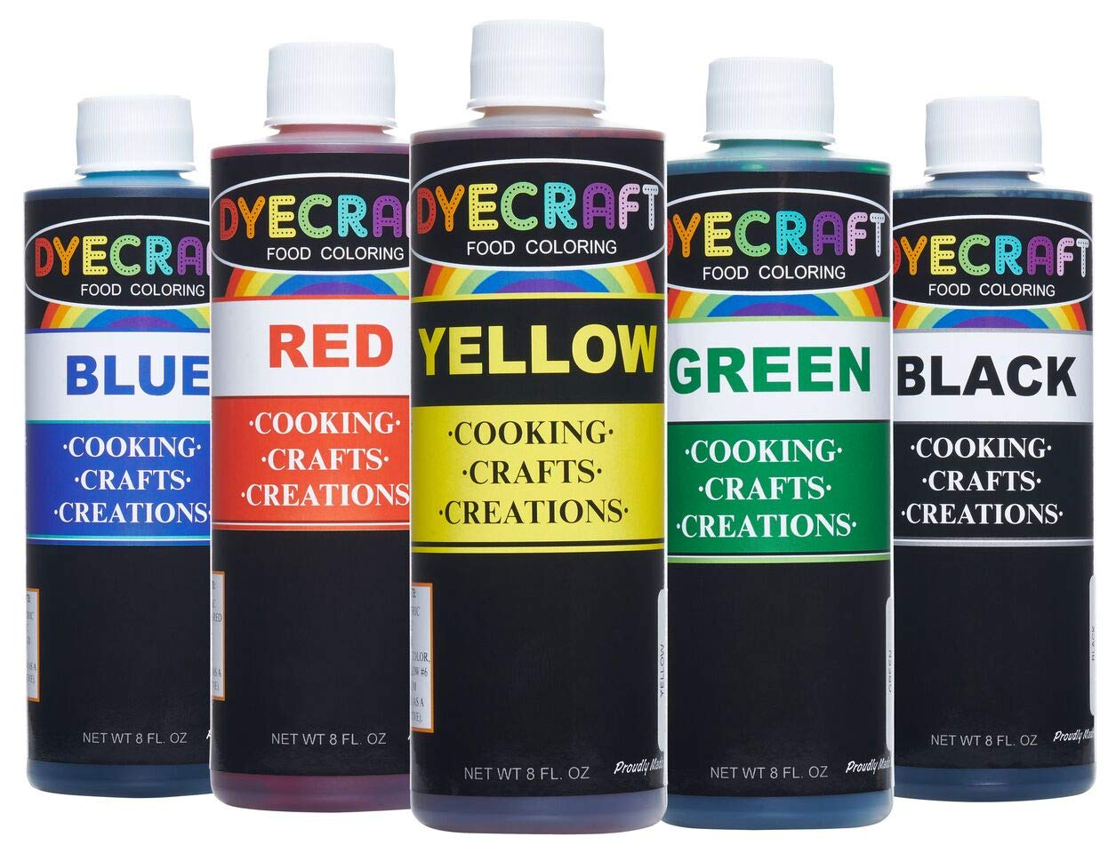 Food Coloring Multi-Pack (Green, Yellow, Blue, Red, Black) LARGE 4oz BOTTLES- Odorless, Tasteless, Edible- Perfect for Baking, Cooking, Arts & Crafts, Decorations and more by DyeCraft (Image #1)