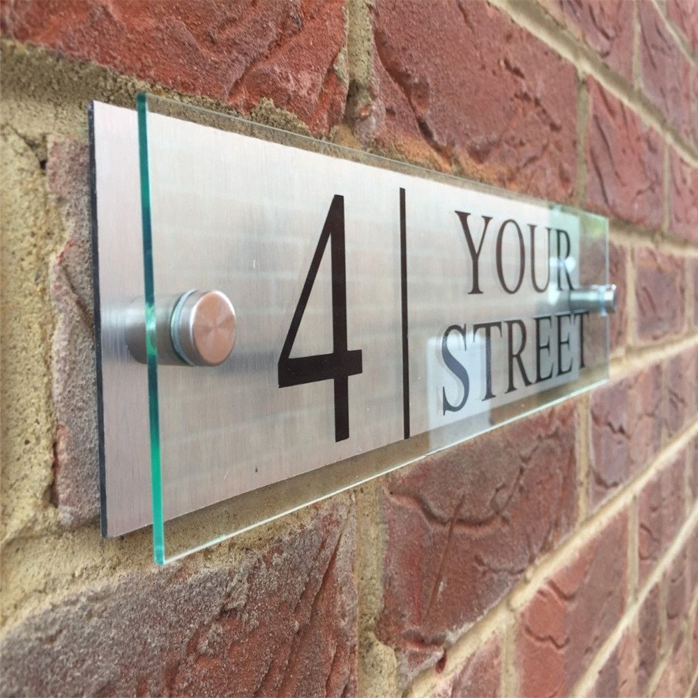 Fuli Custom-made Modern House/Hotel Street Sign Plaque Door Number Glass Effect Acrylic Aluminium Name (300/70mm)