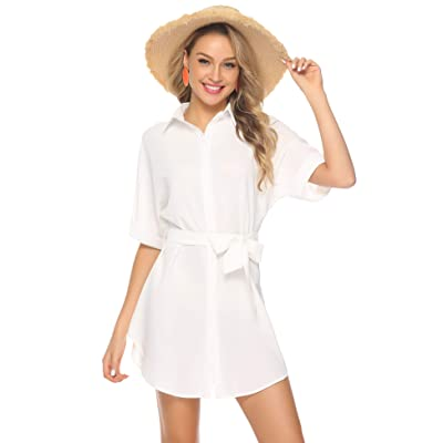 Abollria Womens Casual Short Sleeve V Neck Button Down Loose Shirt Midi Dress with Belt at Amazon Women's Clothing store