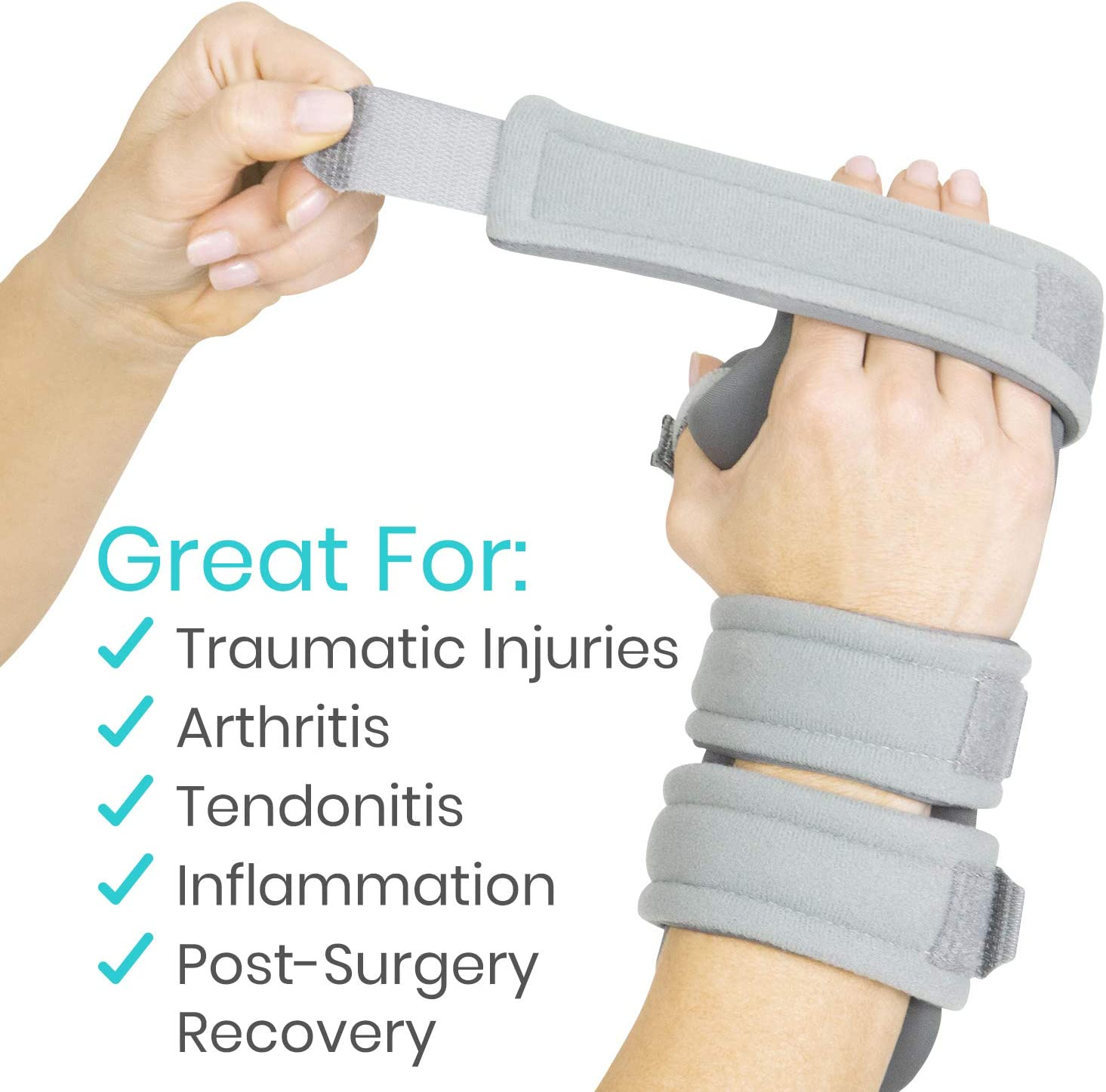 Right Tendonitis for Arthritis - Night Immobilizer Wrist Finger Brace Vive Resting Hand Splint Functional Support for Sprains Fractures Thumb Stabilizer Wrap Carpal Tunnel Pain Medium