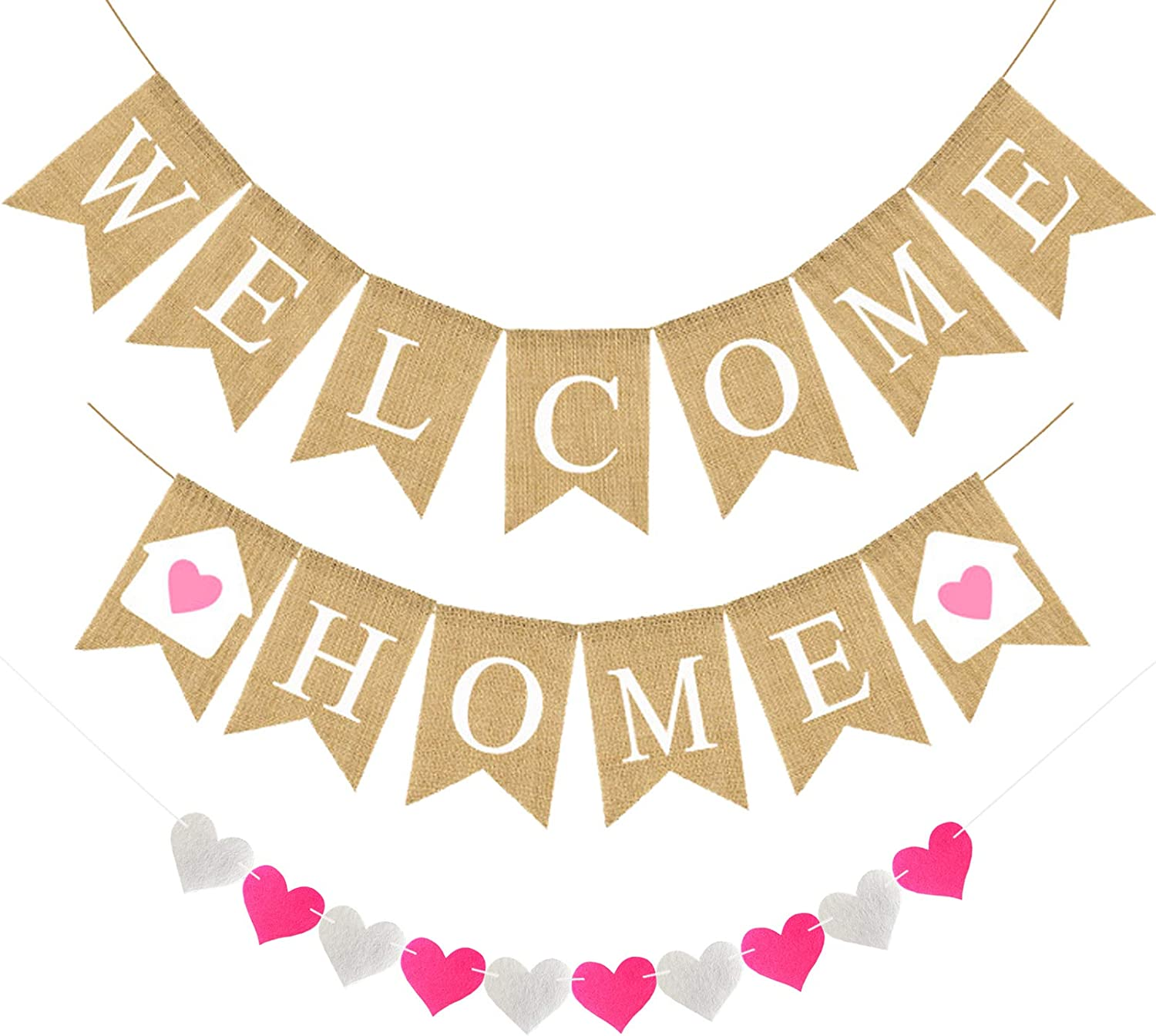 Welcome Home Banner Burlap Welcome Home Decorations, Rustic Bunting Garland Welcome Home Party Decorations, Welcome Home Sign