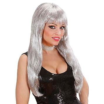 Peluca Plata Glam Mujer peluca Glamour Mujeres peluca de pelo largo mujer glamour peluca Disfraz Peluca