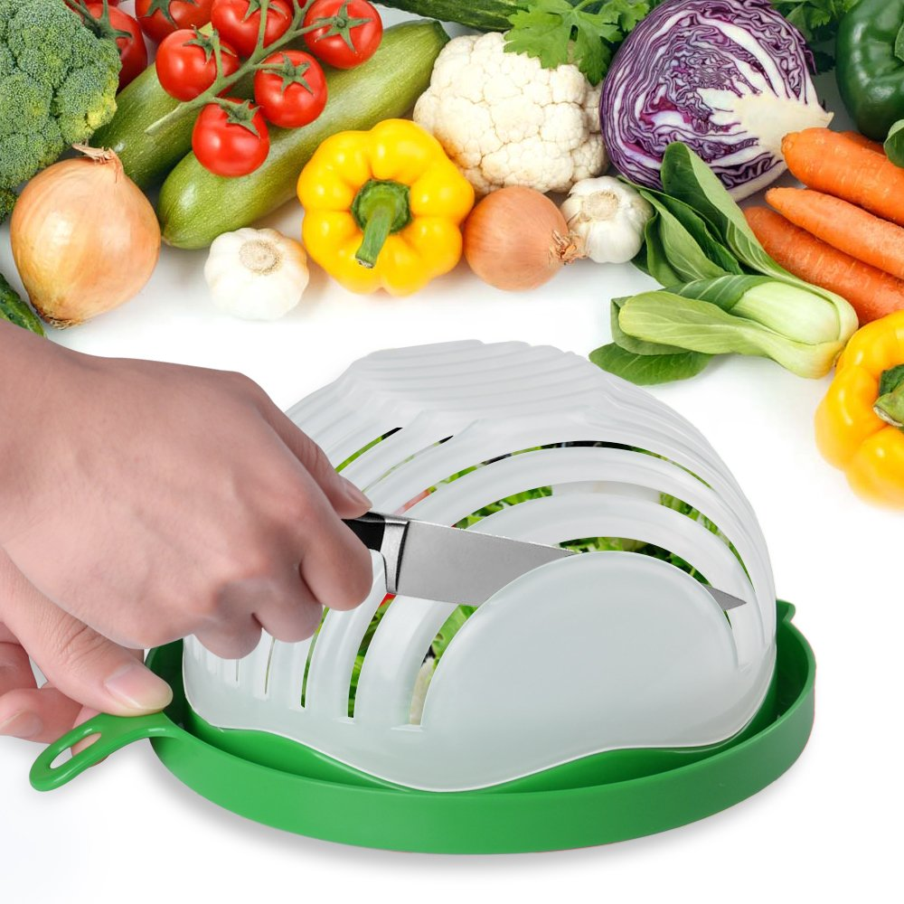 Qoosea Salad Cutter Bowl Salad Maker Food Grade ABS Vegetable Fruit Cutter Chopper Cutter Bowl Quick homemade salad 60 seconds cutting board Food Savers( Upgraded version)