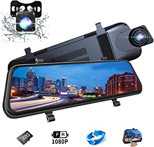 "EDSSZ Mirror Dash Cam 10"" Backup Camera, Dash Cam Front and Rear Dual Lens Touch Screen Video Streaming 1080P Rear View Mirror Camera with Night Vision Waterproof Reversing Camera 32G TF Card Included"