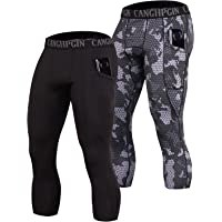 CANGHPGIN 2 Pack 3/4 Compression Pants Men with Pockets Dry Cool Sports Baselayer Running Workout Tights Leggings Shorts